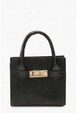Womens Black Snake Mini Metallic Grab Bag