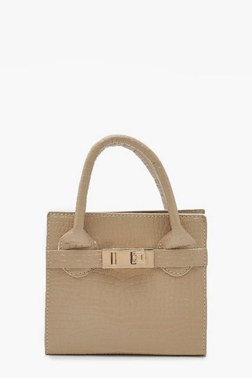 Womens Nude Snake Mini Metallic Grab Bag
