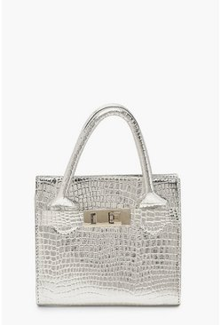 Mini-Henkeltasche in Metallic-Optik mit Schlangenmuster, Silber, Damen