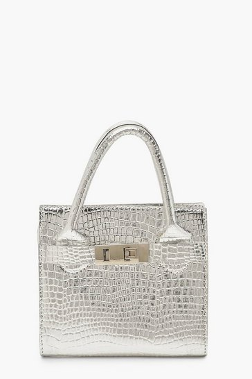 Womens Silver Snake Mini Metallic Grab Bag