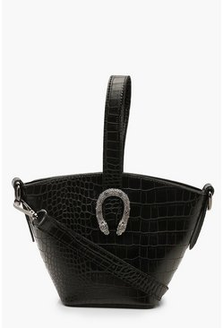 Womens Black Croc Buckle Detail Mini Grab Bag & Strap
