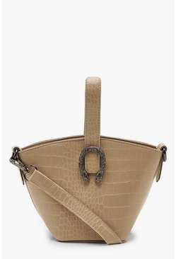 Nude Croc Buckle Detail Mini Grab Bag & Strap