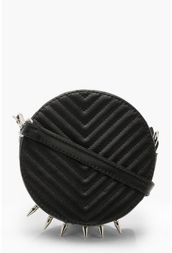 Womens Black Spike Chevron Drum Cross Body Bag