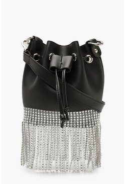 Womens Black Diamante Fringe PU Bucket Bag Cross Body