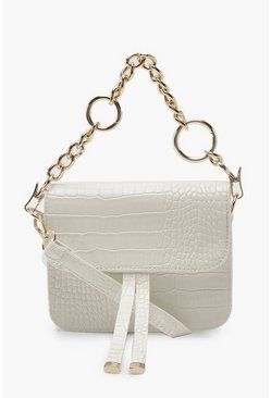Womens White Mini Croc Chunky Ring Chain Cross Body Bag