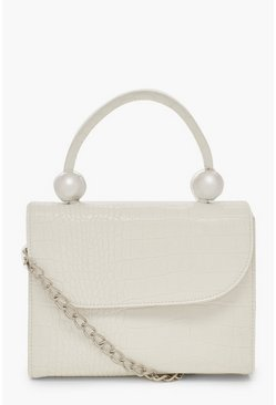 Womens White Mini Croc & Bead Structured Cross Body Bag