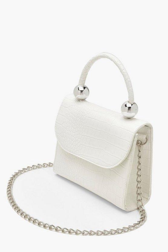 Mini Croc & Bead Structured Cross Body Bag