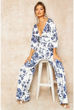 Dam Blue Floral Print Wide Leg Trousers