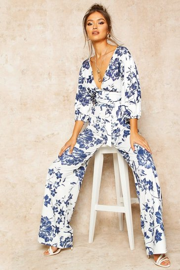 Womens Blue Floral Print Wide Leg Trousers