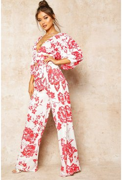Womens Red Floral Print Wide Leg Trousers