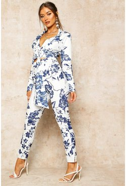 Womens Blue Floral Print High Waist Cropped Trouser