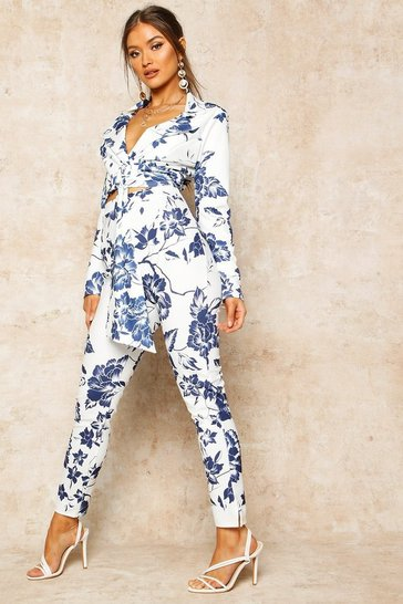 Blue Floral Print High Waist Cropped Trouser