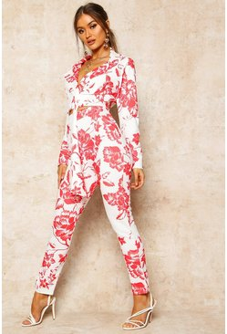 Womens Red Floral Print High Waist Cropped Trouser