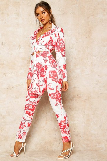 Red Floral Print High Waist Cropped Trouser