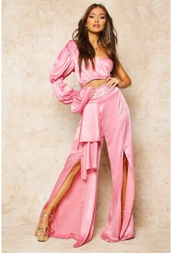 Womens Dusky pink Satin High Waist Drape Detail Trouser