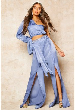 Womens Dusty blue Satin High Waist Drape Detail Trouser