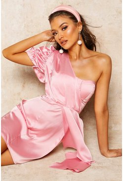 Womens Pale pink Satin Puff Sleeve Drape Skater Dress