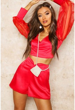 Womens Red Satin High Waisted Shorts