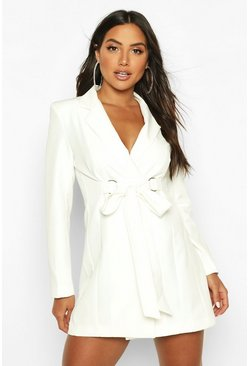 Ivory Buckle Detail Blazer Dress