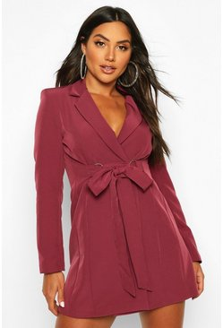 Wine Buckle Detail Blazer Dress