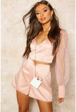 Womens Pale pink Organza Blouson Sleeve Satin Crop Top