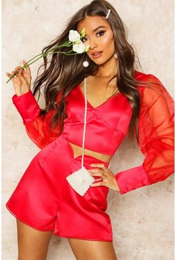 Womens Red Organza Blouson Sleeve Satin Crop Top