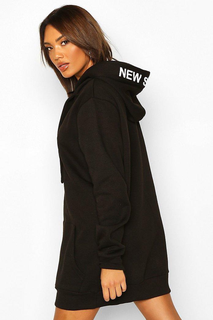 Robe sweat à capuche et bande avec slogan | boohoo