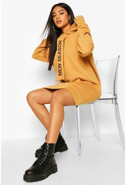 Camel Hooded Slogan Tape Sweatshirt Dress