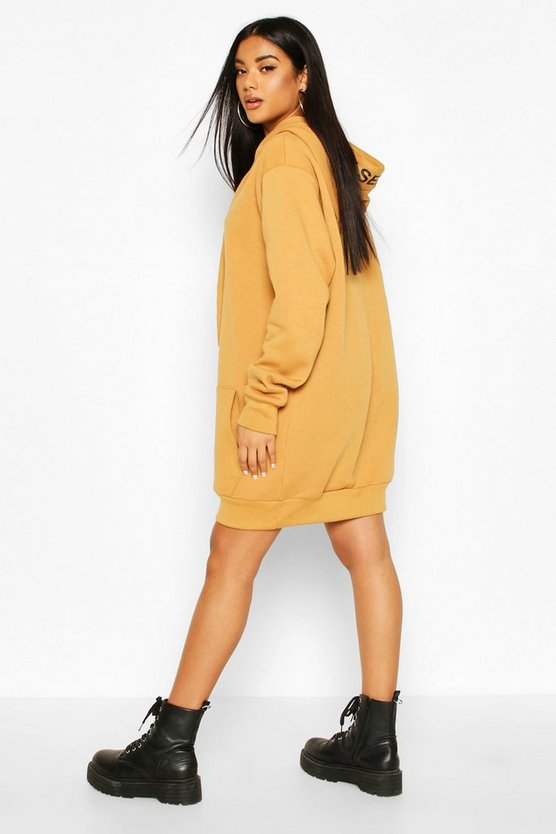 Hooded Slogan Tape Sweatshirt Dress