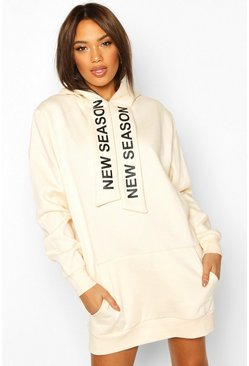 Womens Nude Hooded Slogan Tape Sweatshirt Dress
