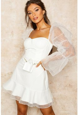 Womens Ivory Organza Sleeve Corset Detail Frill Dress