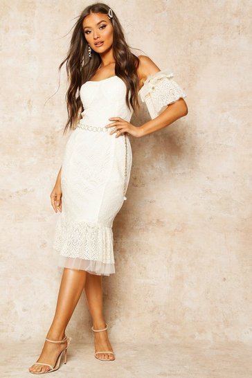 Ivory Lace Bardot Frill Detail Midi Dress