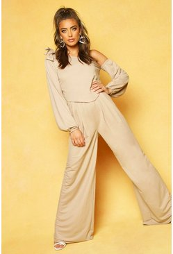 Stone Wide Leg Floor Sweeping Trousers