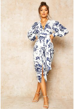 Blue Floral Print Plunge Tie Waist Midi Dress
