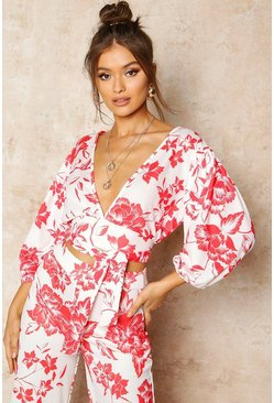 Red Floral Print Puff Sleeve Tie Front Crop Top