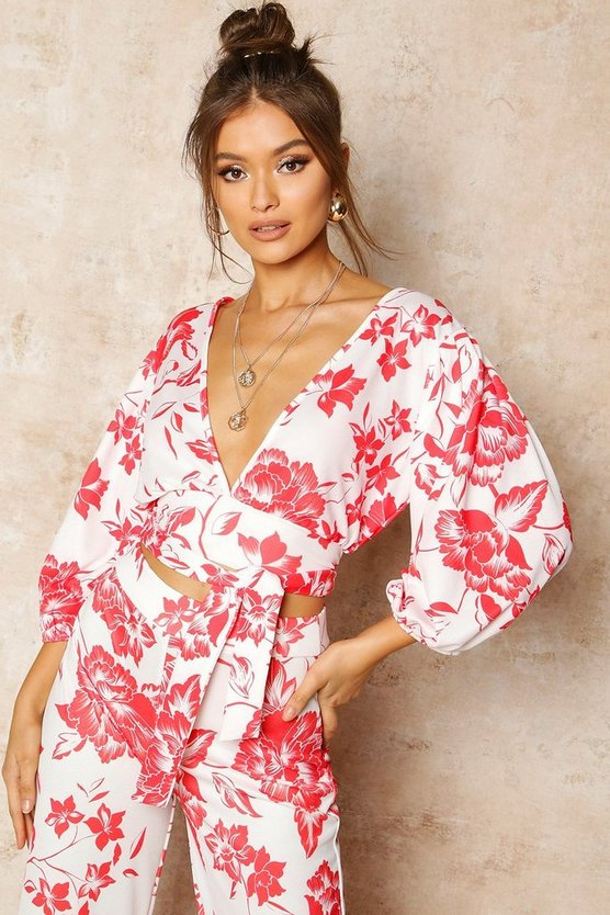 Womens Red Floral Print Puff Sleeve Tie Front Crop Top
