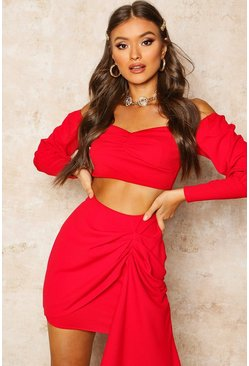 Womens Red Bardot Puff Sleeve Crop Top
