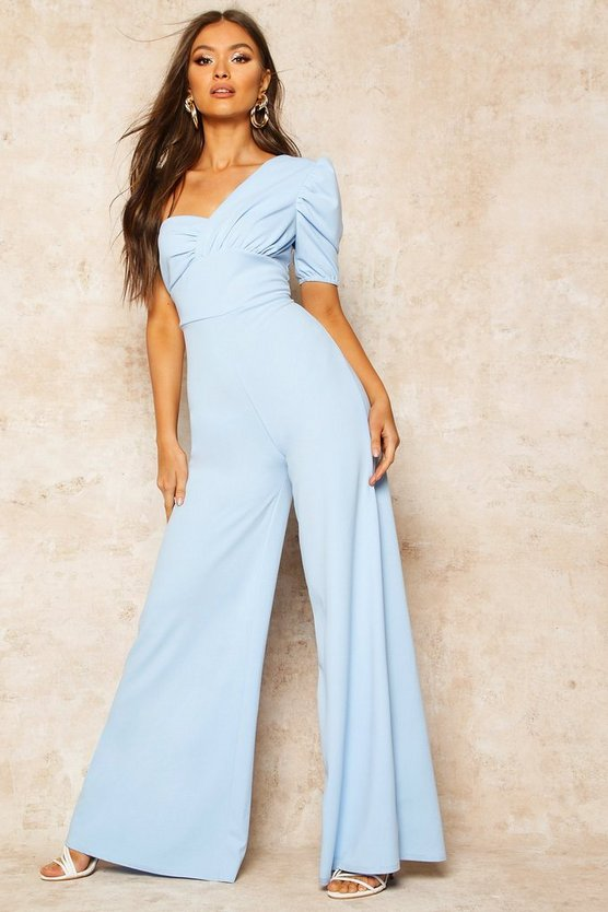 Dusty blue One Shoulder Puff Sleeve Jumpsuit