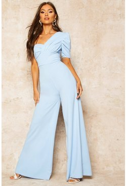 Dusty blue Enaxlad jumpsuit med puffärm