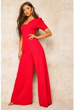 Red One Shoulder Puff Sleeve Jumpsuit