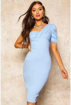 Womens Dusty blue One Shoulder Puff Sleeve Midi Dress