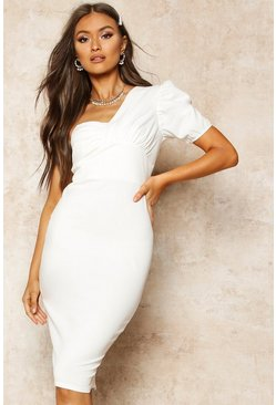 Womens Ivory One Shoulder Puff Sleeve Midi Dress