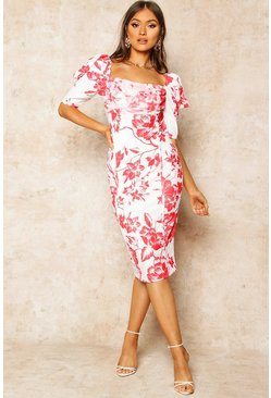 Red Floral Print Puff Sleeve Drape Detail Midi Dress