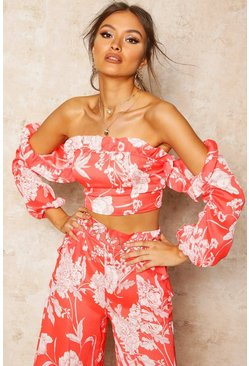 Womens Red Floral Print Bardot Frill Blouson Crop Top