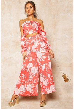 Red Floral Print Frill Detail Wide Leg Trousers