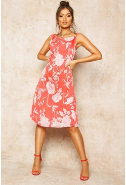 Womens Red Floral Print Cowl Neck Slip Dress