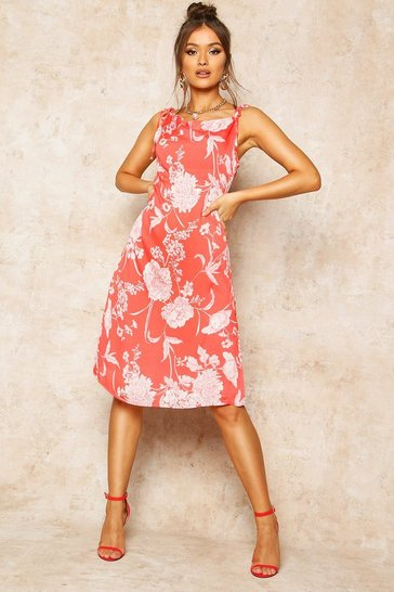 Red Floral Print Cowl Neck Slip Dress