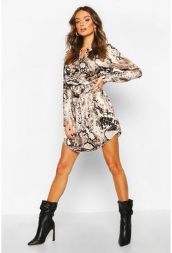 Natural Snake Print Wrap Tie Waist Shirt Dress