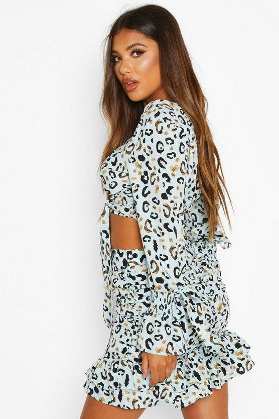 Ruched Detail Leopard Mini Skirt