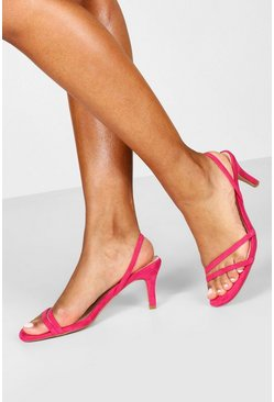 Womens Pink Slingback Low Heel Sandals
